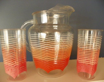 Vintage Clear Glass Pitcher and Tumblers with Peach/Orange Waves
