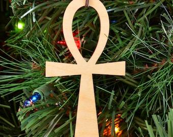 Ankh Holiday Ornament - Laser Cut Wood Wooden Sacred Symbol Geometry - Xmas Christmas Decoration