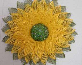 Spring Summer Floral Flower Poly Burlap Mesh Door Wreath with Glass Gem/Flat Marble Center