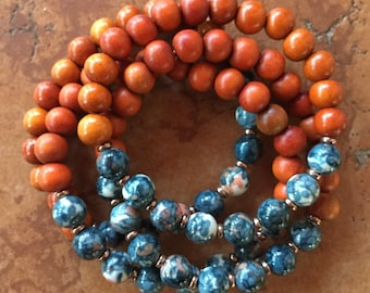 Stackable Mala Inspired Redwood + Rain Flower Jasper Spiritual Junkies Yoga and Meditation Bracelet (single bracelet)