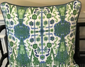 Blue and green pillow with blue cording
