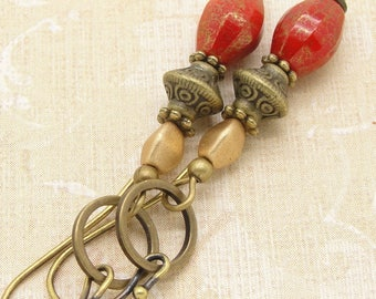 Red and Gold Glass Mod Boho Earrings with Brass Hoops