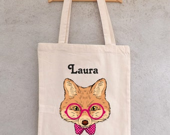 "Tote Bag ""Cat at glasses"" to customize - colours to the choice - shopping - shopping bag - bag custom - bag tote bag personalized"