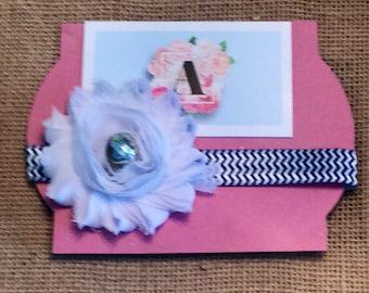 Navy and white chevron flower headband