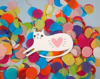 White Cat acrylic necklace - Heart cat - Laser cut - I like cats - White cat - Cats - Cat Jewellery - Acrylic Jewellery - hearts - cute cat