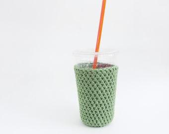 crochet coffee cozy. sage coffee cozy. Green cup cozy. Cotton cup sleeve. Eco friendly cup jacket. Summer drink cozy Sage green cup sleeve