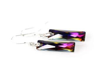 Purple red crystal earrings, purple red crystal, minimalist earrings
