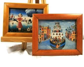 Pair of Small Framed Prints,  Folk Art Prints,  Country Life Scene, River Boat Scene, Wooden Frames, Miniature Framed Prints