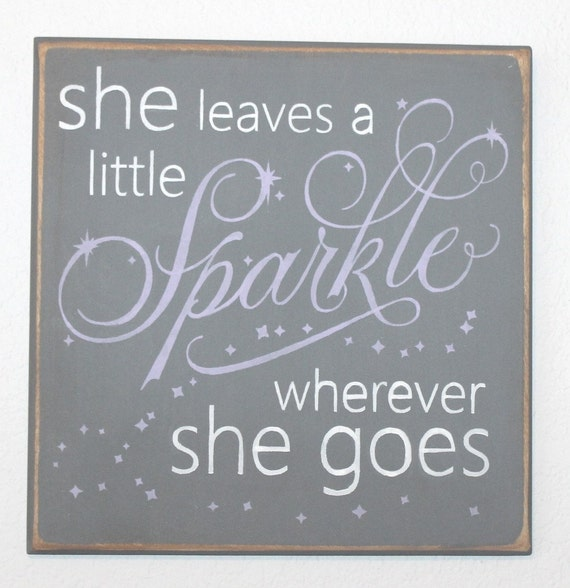 She Leaves a Little Sparkle Wherever She Goes - Hand Painted Wooden Sign - 12 x 12 - Lavender and Gray - Girl's Room - Nursery Decor