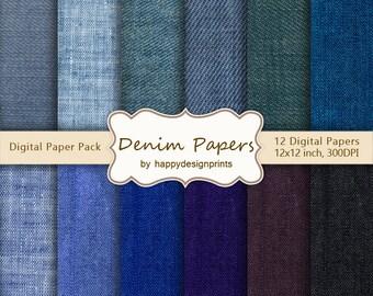 "Denim Jeans Fabric Textured Digital Paper Pack of 12, 300 dpi, 12""x12"" Instant Download Pattern Paper Scrapbooking, Invites, Cards JPG"