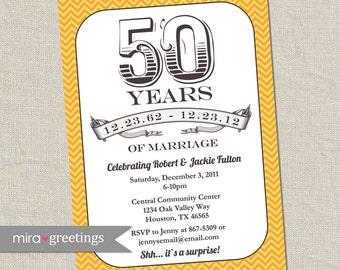50th Anniversary Invitation -  Gold Golden Vintage Anniversary Party Invite - Fiftieth (Printable Digital File)