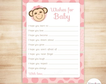 Pink Monkey Wishes for Baby Advice Cards - Monkey Girl Baby Shower Wish Cards - Pink Polka Dots - PRINTABLE, INSTANT DOWNLOAD