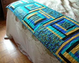 """Beautiful 95"""" X 20"""" bed runner made from metalic art deco fabric."""