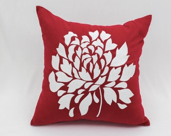Red Flower Pillow Cover, Red Linen Pillow White Flower Embroidery, Floral Cushion, Flower Bedding, Red Accent Pillow Christmas Holiday Decor