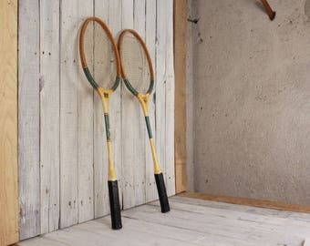 1970's badminton rackets, Vintage badminton rackets, Pair of wooden badminton racquets, Sports decor, Badminton tools, DDR badminton rackets