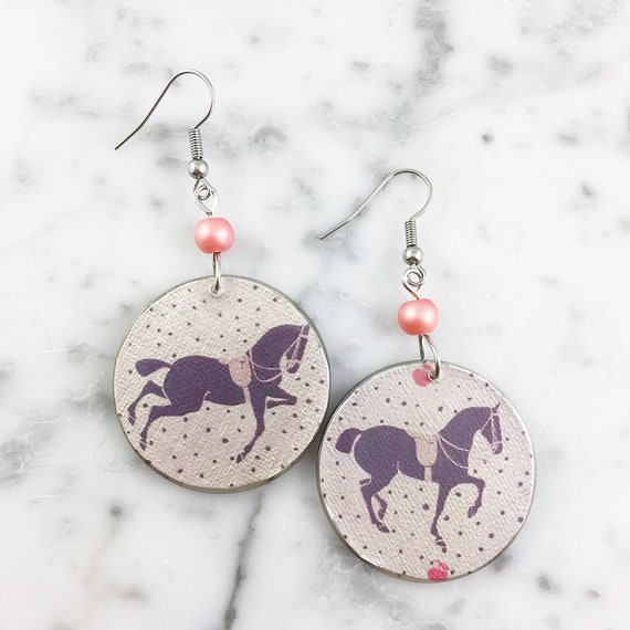 Resin earrings, horses, color, gray, purple, love, unique, handmade, sold, gray background, hypoallergenic hook