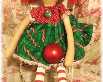 Marissa Christmas Raggedy Annie Primitive Doll Raggedy Ann Christmas Doll Ready To Ship!