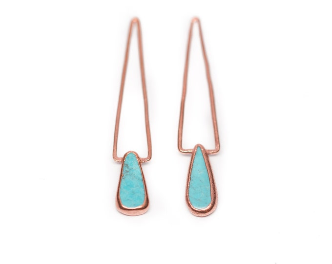 "Turquoise ""Pinnacle"" Earrings // Turquoise Copper Statement Earrings // Turquoise Earrings // Bohemian Earrings"