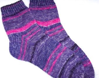 Hand knitted womens wool socks.  SizeEU 38-39  US 7-8