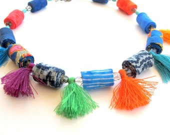 Colorful beads and tassels fabric necklace, artisan tassel fabric necklace, winter blue tassel fiber necklace, fabric necklace