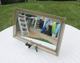 Mirrored Vanity or Dresser Tray in Gold Tone Metal