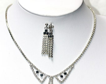 Clear and Blue Rhinestone Vintage Necklace & Errings Set