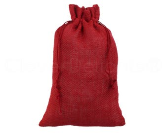 """25 Pack - 8"""" x 12"""" Red Burlap Bags - Natural Burlap Bags with Jute Drawstring for Christmas and Holiday Gifts - Rustic Decor Favor Pouch"""