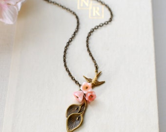 Calla Lily Necklace. Antiqued Brass Calla Lily Pink Bell Flowers Brass Swallow Bird Necklace, mothers day gift, gift for mom, gift for her