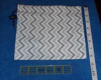 Gray and White Zigzags Handmade Drawstring Bag
