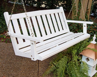 Porchgate Amish Made Mission White Porch Swing Item