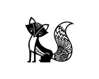 Cute fox rubber stamp small