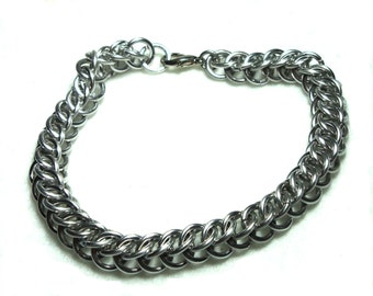 Chainmaille Jewellery, Silver Aluminum Half Persian Chainmail Bracelet