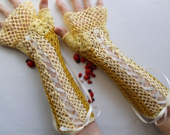 Crocheted Cotton Gloves L Ready To Ship Victorian Fingerless Summer Women Wedding Lace Evening Knitted Bridal Party Yellow Corset Opera B91
