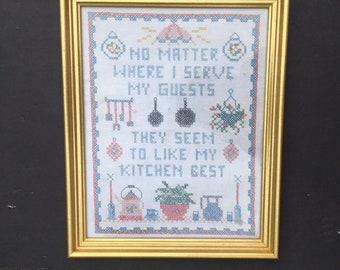 Framed Kitchen Cross-Stitched Sampler 1980s