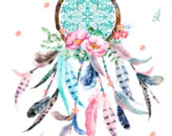 Dream Catcher in Aqua and Teal Minky Blanket or Quilt