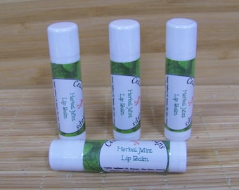 LIP BALM Herbal Mint Lip Balm Natural Lip Balm with Shea Butter and Beeswax