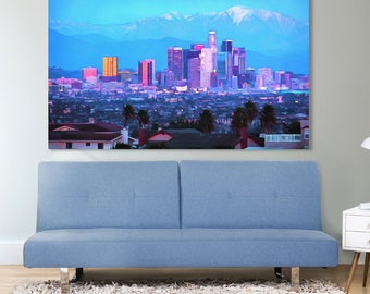Los Angeles Skyline Canvas, Large Art Wall Oil Painting, LA Skyscrapers Poster, Night California city interior decor, USA urban landscape