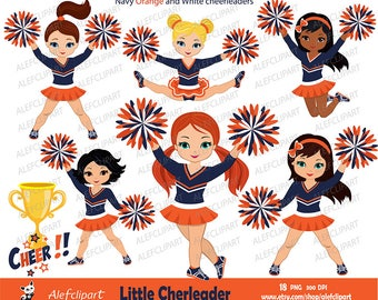 Navy, Orange and White Cheerleader Digital Clipart Set for -Personal and Commercial Use-paper crafts,card making,scrapbooking,web design