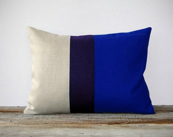 Cobalt Blue Colorblock Decorative Pillow Cover with Navy Stripe by JillianReneDecor (12x16) - Indigo - Home Decor - Snorkel Blue
