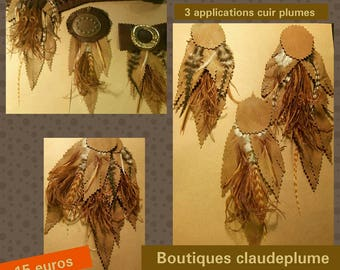3 applications customization leather feathers
