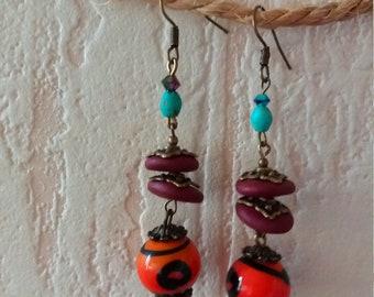 bronze, turquoise, orange, plum earrings