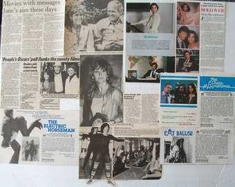 JANE FONDA ~ Grace and Frankie, On Golden Pond, 9 to 5, The China Syndrome, Klute, Barbarella ~ Color and B&W Half-Page Articles 1980-1985