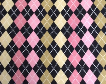 48 inches of Flannel/Argyle plaid/Black, Pink, Yellow and gold cotton fabric