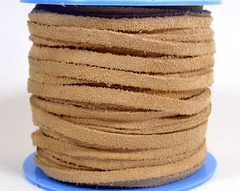 4mm Flat Suede Lace - Natural - 4MF-3 - Choose Your Length