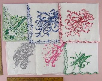 Choice Madeira Monogram M Vintage Handkerchiefs Elegant M Monogrammed Madeira Hanky (Inventory #Monogram33) All on Top Row Have Sold