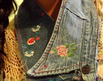 Up-cycled Denim Neckerchief Embroidered Hippie Denim Bohemian Fashion Statement