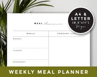 A4 & US letter size / Weekly meal plan: Meal Planner Printable, Weekly Menu Plan, Printable Meal Schedule, Shopping list, Desk Planner