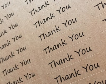 """80 THANK YOU stickers- thank you labels on Kraft brown 1/2"""" x 1 3/4 inch- wedding labels, party favors stickers"""
