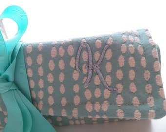 Monogram Personalization Add On to Jewelry Rolls, Zipper Bags