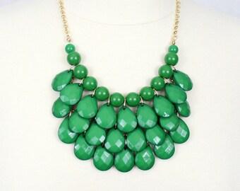 Statement Necklace Green Teardrop Necklace Multi Layered Necklace Chunky Necklace Set